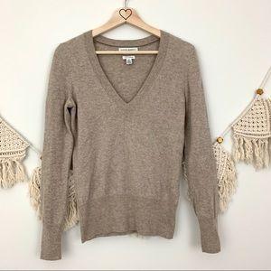 BR 100% Cashmere Tan V Neck Sweater